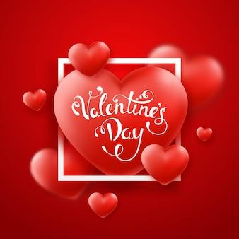 Sfondo di san valentino con cuori rossi, cornice e testo.