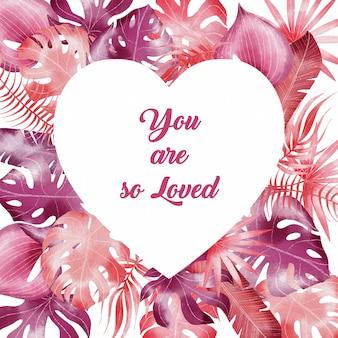 Fondo di giorno di biglietti di s. valentino con le foglie rosa tropicali