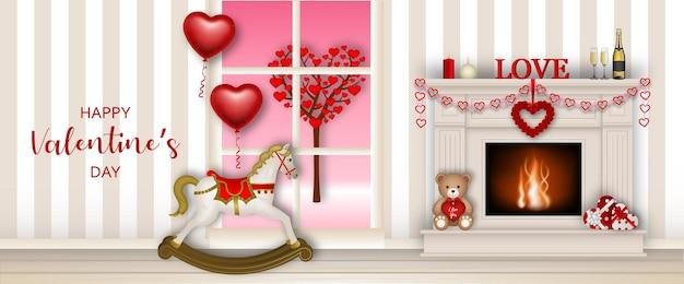 Banner di san valentino con camino e cavallo a dondolo