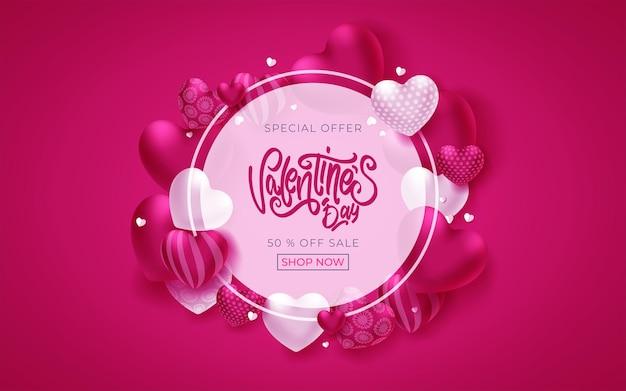 Banner di san valentino con testo di saluto e cuori in cornice circolare