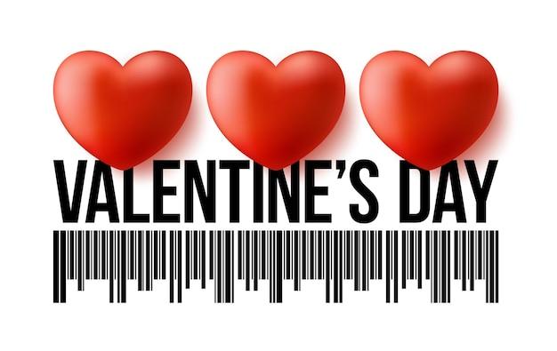 Codice a barre di giorno di biglietti di s. valentino con tre cuori 3d realistici