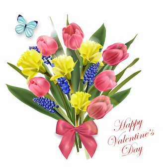 Biglietto di san valentino bellissimo bouquet di fiori primaverili, tulipani, narcisi, vettore di fondo primaverile
