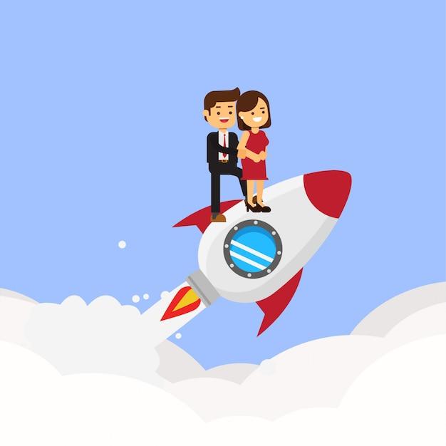 Carta di san valentino. coppia innamorata che vola sul razzo
