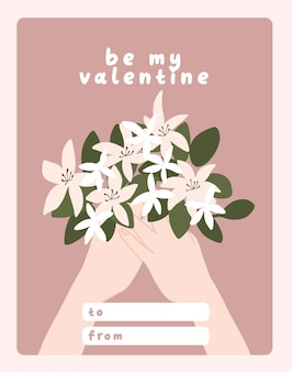 Giorno di san valentino carta dedica nota lettera d'amore carino design piatto scandinavo