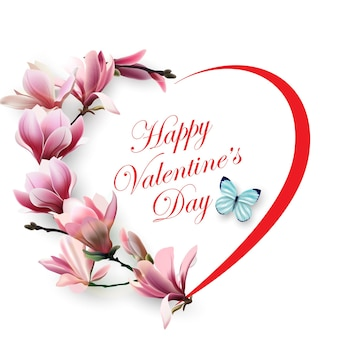 Biglietto di san valentino il cuore dei bellissimi fiori primaverili magnoliesfondo primavera