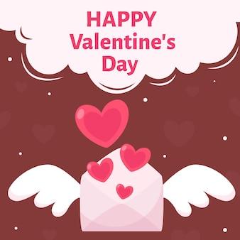 Carta di san valentino. lettera d'amore con le ali.