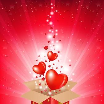 Carta di san valentino con scatola e sunburst,