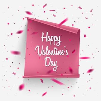 Carta di san valentino con coriandoli e carta realistica.