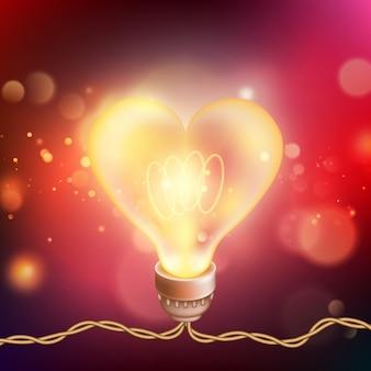 Carta di san valentino con cuore di lampada incandescente.