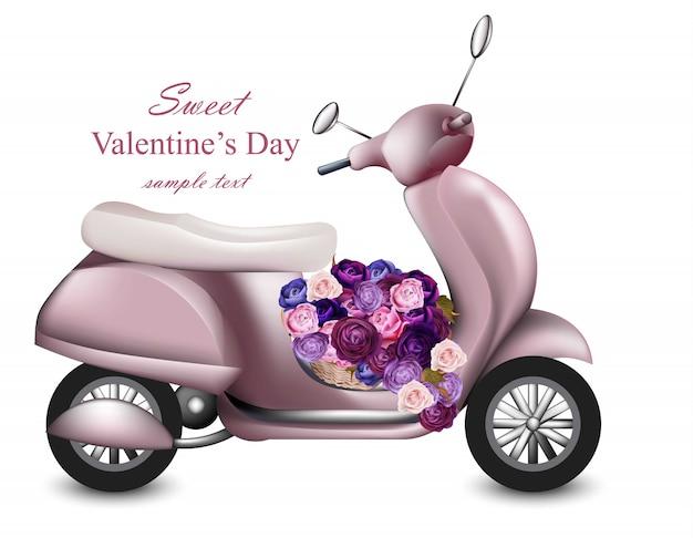 Scheda di giorno di biglietti di s. valentino con il vettore dentellare del mazzo dei fiori e del motorino. biglietto di auguri romantico d