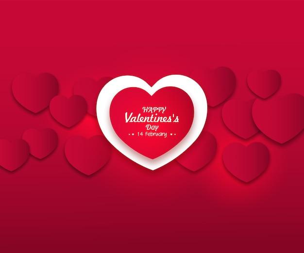 Carta di san valentino con cuori rossi