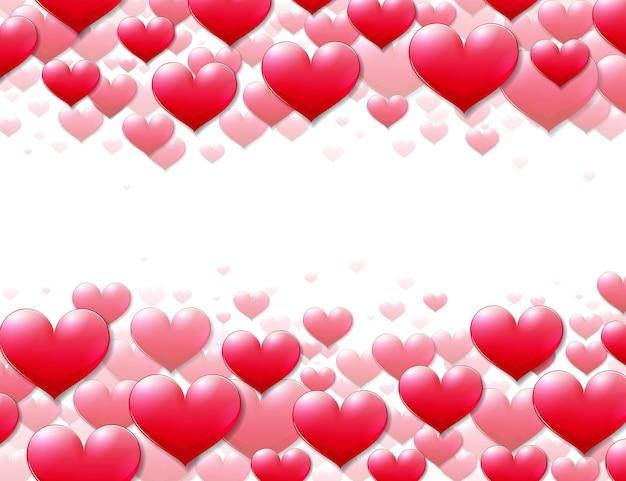 Carta di san valentino con cuori viola sparsi