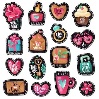 Emblemi del fumetto di san valentino. toppe di auguri di san valentino impostate in stile cartone animato con texture shabby. colori e sfumature brillanti.
