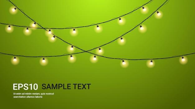 Volantino o biglietto di auguri banner celebrazione di san valentino con lampadine incandescente ghirlande illustrazione orizzontale