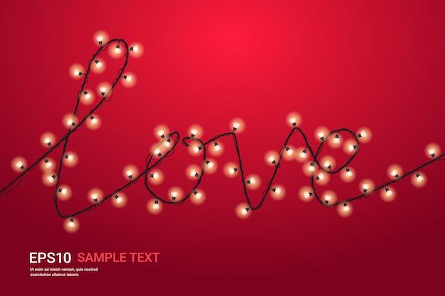 Volantino o biglietto di auguri banner celebrazione di san valentino con lampadine a forma di illustrazione orizzontale parola amore