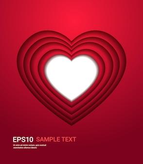 Aletta di filatoio o cartolina d'auguri della bandiera di amore di celebrazione di san valentino a forma di cuore nell'illustrazione di stile del taglio della carta