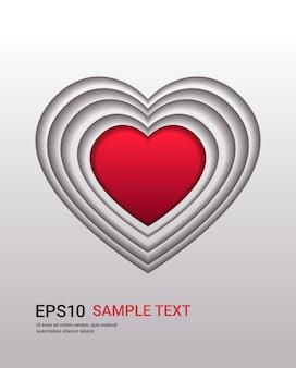 Volantino o biglietto di auguri banner amore celebrazione di san valentino a forma di cuore in illustrazione verticale stile taglio carta