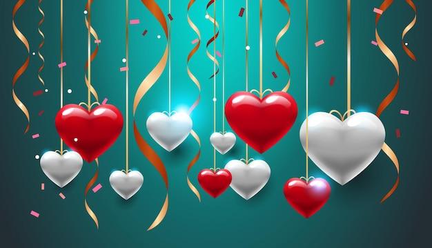 Volantino o cartolina d'auguri della bandiera di amore di celebrazione di san valentino con l'illustrazione orizzontale dei cuori