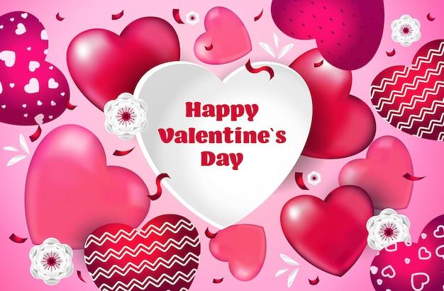 Giorno di san valentino celebrazione amore banner volantino o biglietto di auguri con cuori orizzontali