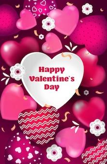 Volantino o biglietto di auguri banner amore celebrazione di san valentino con cuori verticali