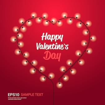 Volantino o biglietto di auguri banner amore celebrazione di san valentino con lampadine a forma di cuore illustrazione