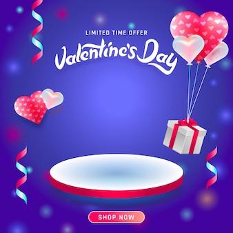 Fondo di concetto di giorno di biglietti di s. valentino. podi e piattaforma vuoti.