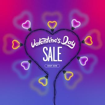 Fondo di concetto di giorno di biglietti di s. valentino. luci al neon