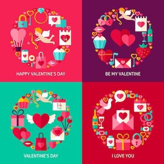 Set di concetti di san valentino. quattro poster design piatto illustrazione vettoriale. collezione di oggetti per le vacanze d'amore.