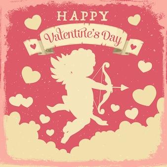 San valentino cupido con amore frecce e cuori