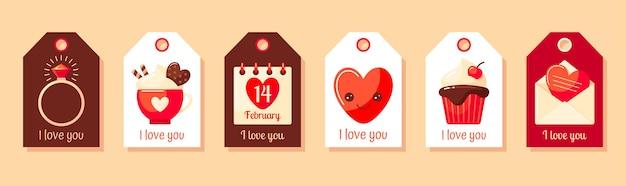 Simpatici tag regalo di san valentino con calendario ad anello a cuore cacao o cupcake al cioccolato caldo