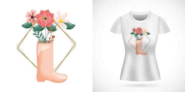 Design di san valentino con decorazione floreale con stivale e stampato sulla maglietta.