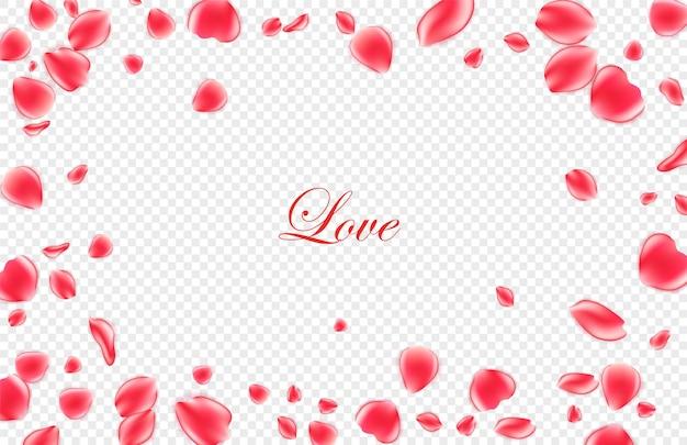 Sfondo festivo di san valentino. realistici petali di rosa rossa su sfondo. .