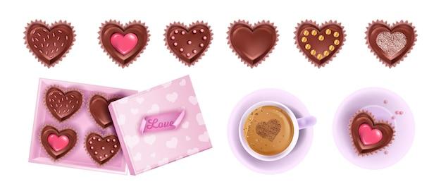 Collezione di dolci al cioccolato regalo di san valentino con caramelle a cuore, scatola aperta, tazza di caffè.