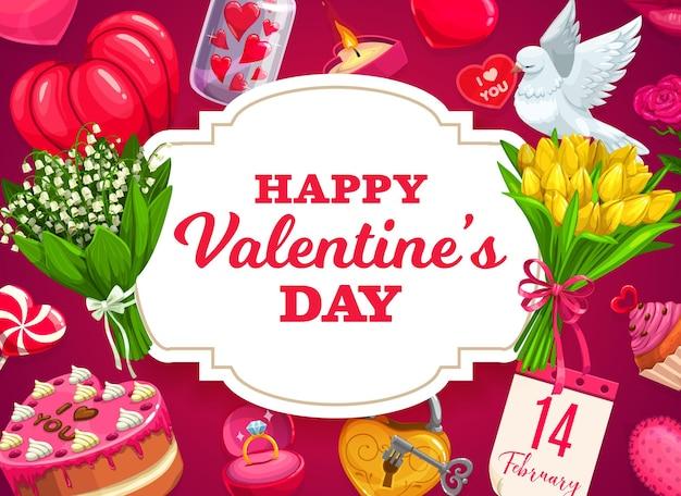 Progettazione di regali, cuori e fiori di san valentino