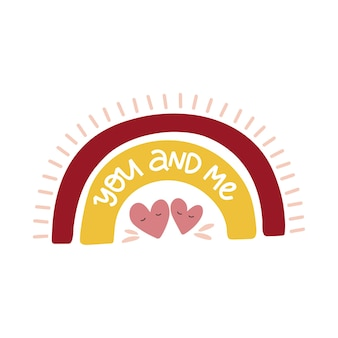 Biglietto di auguri di san valentino. illustrazione vettoriale di arcobaleno disegnato a mano isolato su priorità bassa bianca.