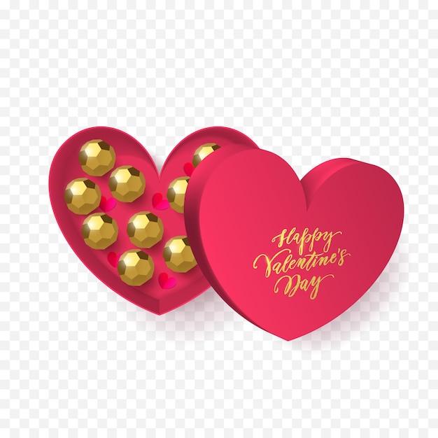 Biglietto di auguri di san valentino della decorazione della scatola regalo del cuore con caramelle al cioccolato in involucro dorato.