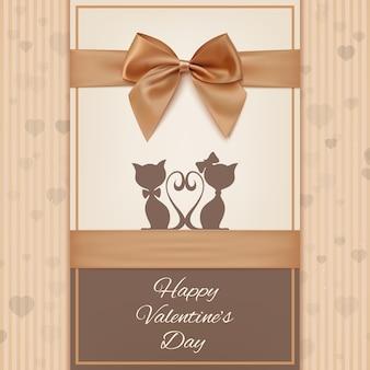 Modello di biglietto di auguri di san valentino con due gatti, fiocco e nastro.