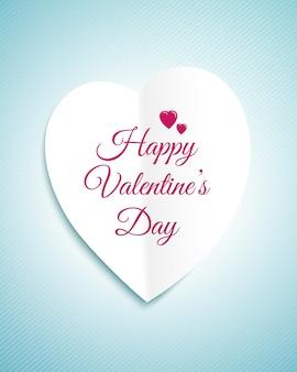 Biglietto di auguri di san valentino con il cuore di carta bianca e il segno happy valentines day