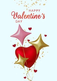 Saluto di san valentino, cuori di palloncini rosa realistici e stelle d'oro su sfondo blu