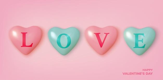 Saluto di san valentino, cuori e stelle di palloncini rosa e blu realistici