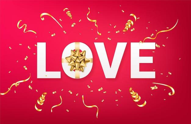 Modello di saluto di san valentino. lettere amano con realistico fiocco dorato e scintillii coriandoli su sfondo rosso. realistico. Vettore Premium
