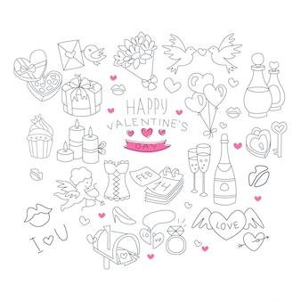Raccolta di simboli disegnati a mano di san valentino