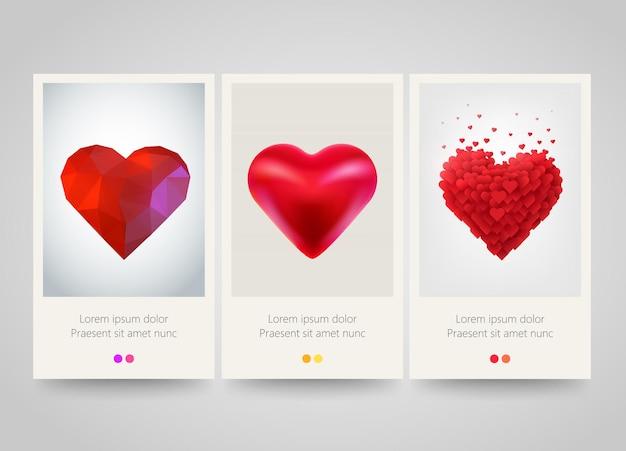 Bandiere verticali del cuore di san valentino.