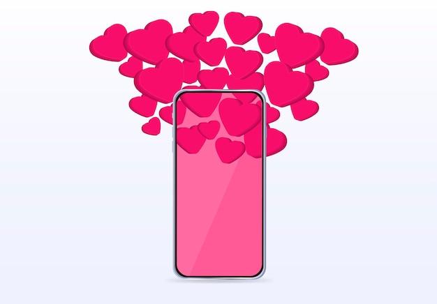 San valentino cuori volano fuori dal telefono modello banner stampa