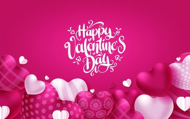 Cartolina d'auguri dei cuori di san valentino. felice giorno di san valentino testo con elementi a forma di cuore sul rosa