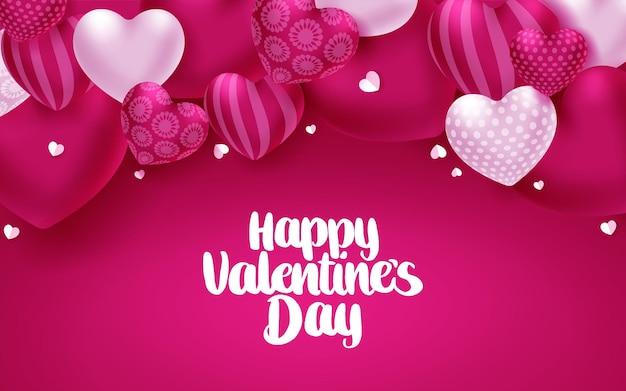 Cartolina d'auguri di san valentino cuori vetor. felice giorno di san valentino testo con elementi a forma di cuore sul rosa