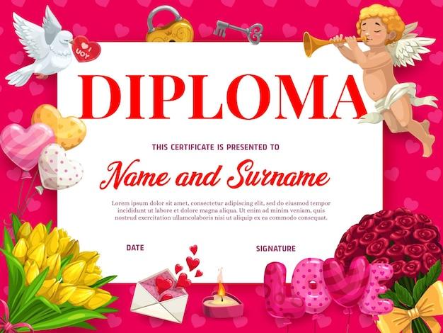 Modello di diploma o certificato di vacanza di san valentino