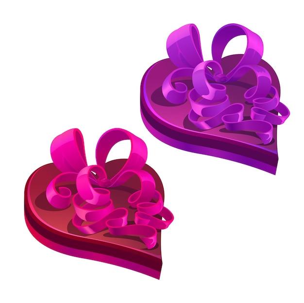 Regalo o regalo per le vacanze di san valentino. scatole rosa e viola a forma di cuore vettoriale con fiocchi ricci. scatole regalo di cartoni animati per la celebrazione dell'evento festivo di san valentino, oggetti isolati su sfondo bianco