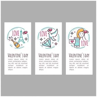 Icone di san valentino. timbro, adesivo, etichetta, baner. elementi romantici. illustrazione Vettore Premium
