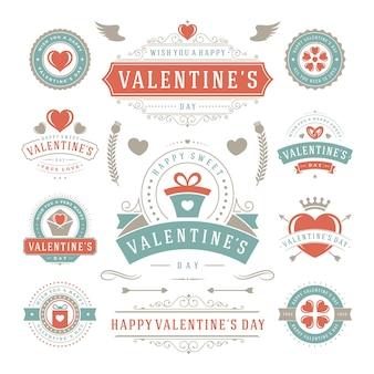Etichette e distintivi di san valentino impostano sagome di icone di cuori per biglietti di auguri
